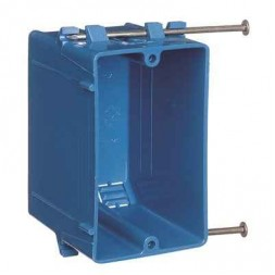 1-Gang 18 cu. in. Blue PVC New Work Electrical Switch and Outlet Box
