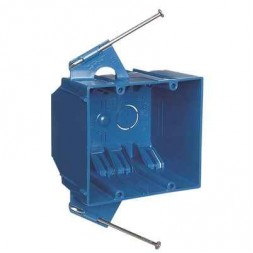 2-Gang 32 cu. in. Blue PVC New Work Switch and Outlet Box